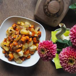 Yacon en zoete aardappel met peer